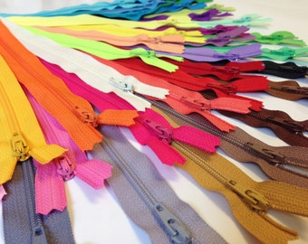 YKK zippers wholesale, 100 pcs, choose 4, 5, 6, 7 or 9 inch zippers, all purpose, dress zippers assortment