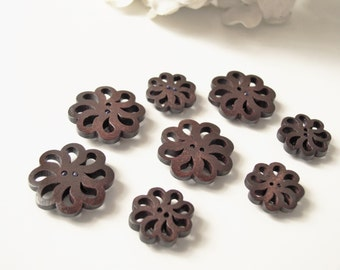 Dark Wood Button Magnets - Extra STRONG Set of 8 Refrigerator Magnets Carved for Magnetic Boards Wood Dark Brown Flower Shaped Large