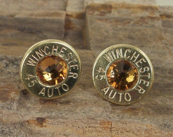 Bullet Jewelry - Bullet Earrings - Winchester 45 AUTO - Topaz Club Hoppers