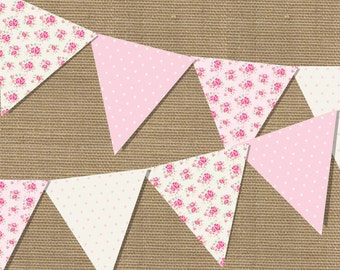 Shabby Chic Floral Printable Bunting Set - 4 piece set - Instant Download File - Print at home with Adobe Reader