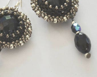 Earrings, chandelier, black, silver,  party, flapper, art deco, Great Gatsby, 1920s, glamour, gift for her, mothers day