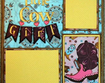 Premade Scrapbook Page 12 x 12 - Little Cow Girl
