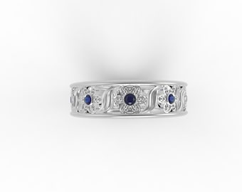 14ct White gold  and sapphires Antique flowers