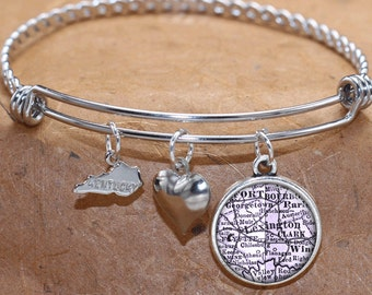 Lexington Kentucky Map Charm Bracelet State of KY Bangle Cuff Bracelet Vintage Map Jewelry Stainless Steel Bracelet Gifts For Her