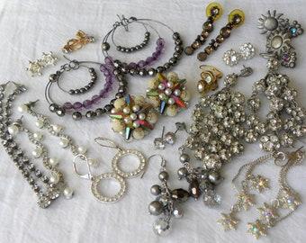 Vintage rhinestone earring lot, vintage to now earring lot, 15 piece vintage earring lot, vintage earrings, vintage jewelry lot, earring lot