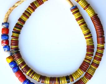 25 Inch Strand of Mixed Bohemian Disc & Kakamba Beads - Vintage African Trade Beads - BO313