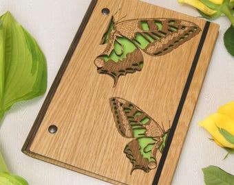Wooden Butterfly Notebook