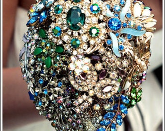 Brooch bouquet - Jewel Brights vintage jewellery bridal bouquet