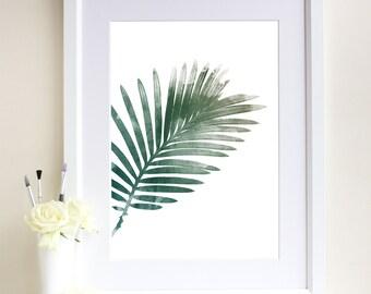 Palm Leaf Print, Watercolour Leaf Print, Botanical Print, Botanical Art, Giclee Art Print, Minimalist, Scandinavian Style
