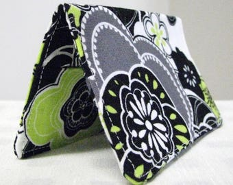 Fabric business card holder, black and green floral print