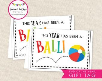 This Year has been a Ball, Beach Ball Favor Tag, End of the Year Favor Tag, End of the Year, Fold Over Favor Tag, Lauren Haddox Designs