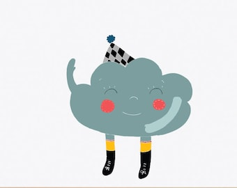 Happy Cloud Removable Wall Sticker