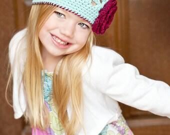 """Crocheted Beanie """"The Emma Jane"""" Hat Robin's Egg Blue, Burgundy, Baby Gift, Flower, Trim"""