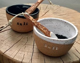 Salt cellar and rustic spoon set