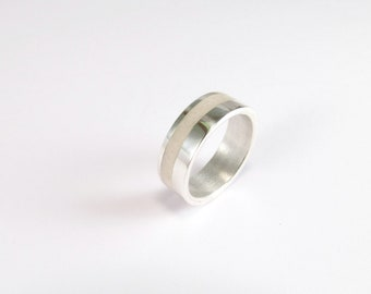 Wedding Band, Sterling Silver Ring, White, Modern, Contemporary, Minimal