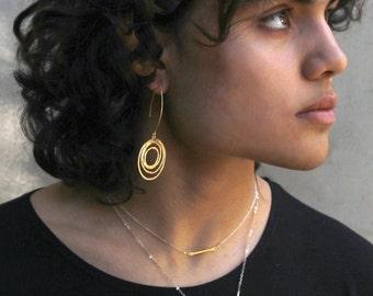 Mod Gold Silver or Black Circle earrings. Long Eternity Hoop Earrings. Statement Earrings. E-G-2025