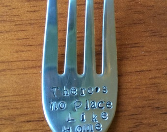 There's No Place Like Home ~  Hand Stamped FORK. Unique Gift. Great Gift for the  Wizard of Oz Lover. New Flatware