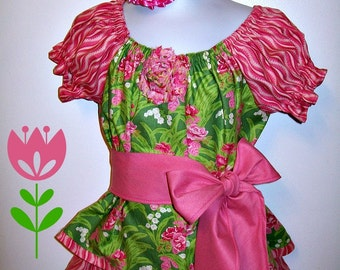 Girls Size 3T Outfit - Peasant Top - Skirt - Sash Tie - Flower Headband - Pinks - Green