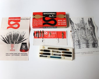 Speedball No.5 Artist Set Vintage USA MIB, Vintage Speedball Set, Vintage Art Set, Creative Writing Set, Vintage Writing