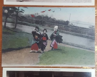 3 Original Old Postcards Young Gilrs Japanese Costumes Traditions ST57