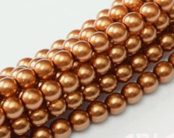 MEDIUM COPPER: 2mm Czech Glass Pearl Beads (150 beads per strand)
