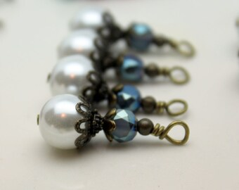 White Round Pearl and Montana Blue Coin Crystal Bead Dangle, Pendant, Earring Dangle, Charm Drop Set