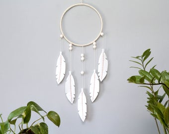 White Dream Catcher. Modern Bohemian Home Wall Hanging. Felt Feathers. White Nursery Decor. Textile Wall Art.