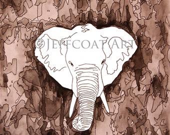 Kaleidoscope Elephant in B&W- SIGNED 10x10-Print to order