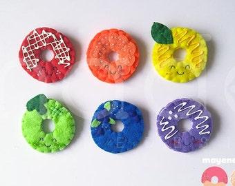 rainbow donuts pin set, support lgbtq
