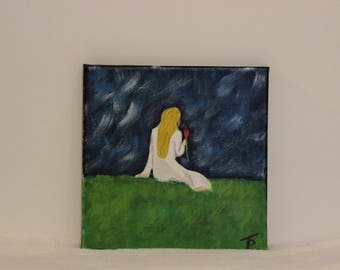 painting style melancholic conscious woman