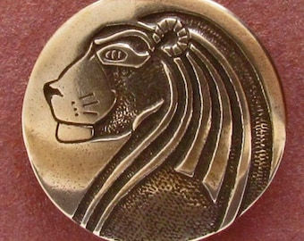 Metal Button, Lion, Jewelry Making, Collectible Button, Made USA, Knitting, Fashion Embellishment, Sewing, Fiber Arts, Shank Button