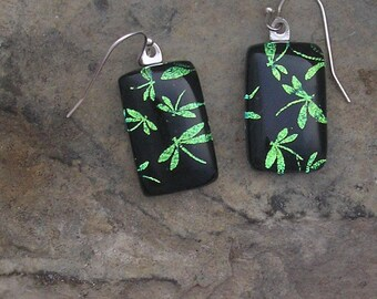 Dragonfly Earrings Fused Dichroic Glass Green Dragonfly Jewelry