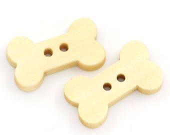 Set of 2 buttons 2 holes small bone Nature 18mm x 10mm