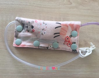 Woodland Fun, Foxes, Bears, Bunnies Feeding Tube Connector Cover/Port Cover