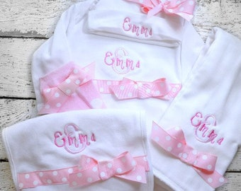 Personalized Coming Home outfit, Take  Home From Hospital Outfit,  Layette Gown, or one piece and Hat, bib and burp and legwarmer Set