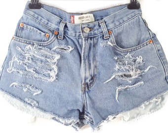 Distressed Mid to High Waisted Cut off shorts/Plus Size/Jean Shorts/ALL BRANDS Levis, Guess, Lee, Riders, Wrangler..etc