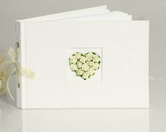 Ivory Vintage Wedding Guest Book with Rose Heart Detail