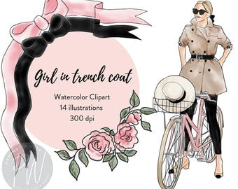 Girl in Trench coat Watercolor Fashion Illustration Clipart,  fashion illustration, fashion print, watercolour, fashion clipart, girl logos