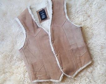 sz. M | Vintage Leather Sherpa Vest