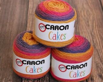 Caron Cakes Yarn - Funfetti - Wool Blend Yarn - Self-striping yarn - Michael's exclusive yarn - Skein of Caron Cake Yarn