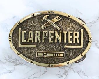 Vintage Belt Buckle Carpenter Solid Brass 1978 Baron Buckle