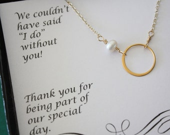 5 Bridesmaid Necklaces, Bridesmaid Gift, Thank You Card, White Pearl, Gold Necklace Karma, Infinite Friendship
