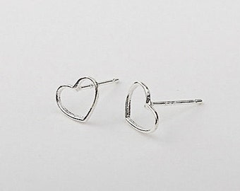 Silver Open Heart Earrings - Tiny Solid Sterling Silver 925 Small Wire Outline Heart Ear Studs Handmade