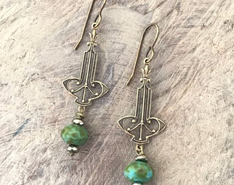 Brass Filigree Drop Earrings