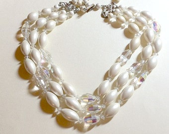 Vintage multistrand faux pearl and crystal necklace, 14 to 16 inches, SALE faux pearl necklace, multi strand necklace, white necklace 1960s