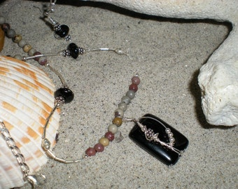 January Rose beaded necklace, one of a kind, black onyx, crazy horse stone, sterling silver by Grey Girl Designs on Etsy
