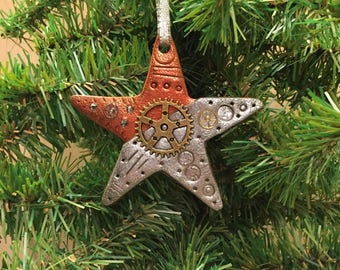 Christmas Star Holiday Ornament - Steampunk Christmas Tree Home Decor Polymer Clay Industrial style 7