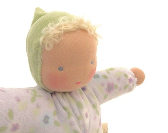 Waldorf doll // ecofriendly toy // natural fiber baby // cloth doll // bunting baby // waldorf toy // cuddle doll  // soft doll //  BFL1