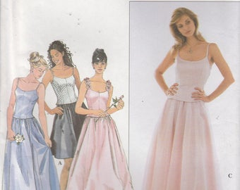 Lined Bustier Top Pattern Full Skirt Formal Prom Bridesmaid Misses Size 6 - 8 10 Uncut Simplicity 8499