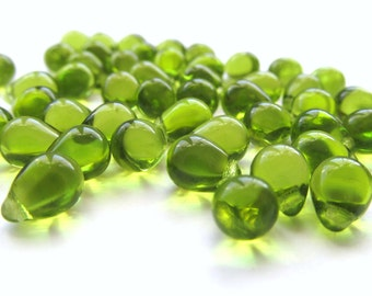 Smooth Olivine Green Glass Teardrop Briolettes, 8mm x 6mm - 25 pieces